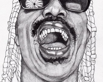 Stevie Wonder - Drawing, Art, Illustration, Fashion, Portrait, Mix Media Painting by Paul Nelson-Esch Free Worlwide Shipping