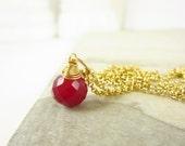 Sale - Dark Red Chalcedony Pendant - Semi Precious Gemstone Jewelry - 14k Gold Charms - Wire Wrapped Jewelry Handmade