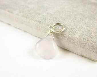Pale Pink Chalcedony Pendant - Sterling Silver Jewelry - Wire Wrapped Gemstone Jewelry - French Lavender - Pastel Pink Gemstone