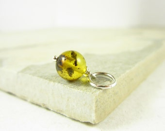 Natural Amber Stone Jewelry - Tree Resin Jewelry Baltic Amber Jewelry - Sterling Silver Charms - Yellow Amber Pendant - Wire Wrapped Jewelry