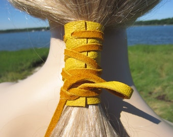 BOHO Clothing Leather Ponytail Holder Yellow Hair Wrap Ties Hair Jewelry Gypsy Style Z1010