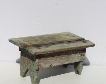 Vintage Wood Wooden Stool Bench Step Stool Red Green Painted Rustic Distressed Chippy Painty Peely Farmhouse Stacking