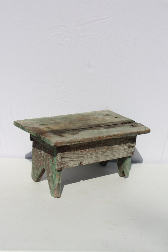 Vintage Wood Wooden Stool Bench Step Stool Red By Cybersenora
