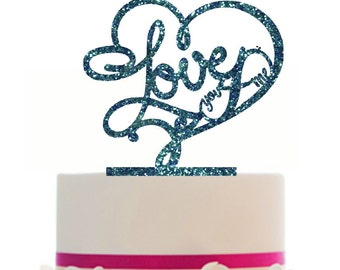 Custom Wedding LOVE Cake Topper with infinity sign, choice of color, Removable spikes and a FREE base for table display