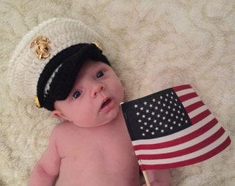 Newborn Marine Corps Hat, Baby US Marine Hat, Newborn Marine, Military Photo Prop, Newborn PHOTO PROP