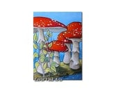 ACEO print/ artist trading card / art miniature print, red and white mushrooms on tree branch, Amanita muscaria