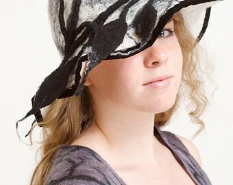 Nuno felted hat. Wearable art. Designer hat, nuno felt, nuno felt hat, b&w hat, women's hat, flapper hat, felted hat.