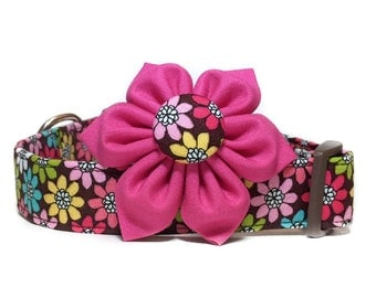 Flower Dog Collar / Daisy Dog Collar with Flower / Girl Dog Collar / Floral Dog Collar / Pink Brown Dog Collar / Collar with Pink Flower