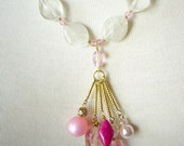 Pink Statement Necklace, Beaded Tassel Pendant, Chunky White Quartz Beads, Semiprecious Stone, Gemstone