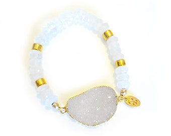 Love Angel Moon Bracelet-beaded bracelet, moonstone, druzy bracelet, white bracelet