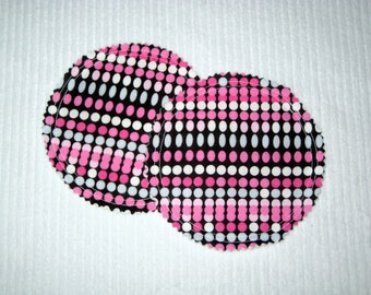 Organic Nursing Pads Bamboo Fleece with PUL - Black, Pink, Grey, and White Polka Dots - 2 Pads - READY To SHIP