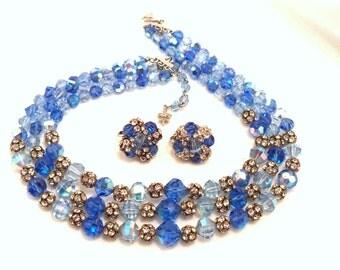 LAGUNA Multiple Strand Necklace and Earrings Set Blue Crystal, Aurora Borealis and Rhinestone Beads Signed