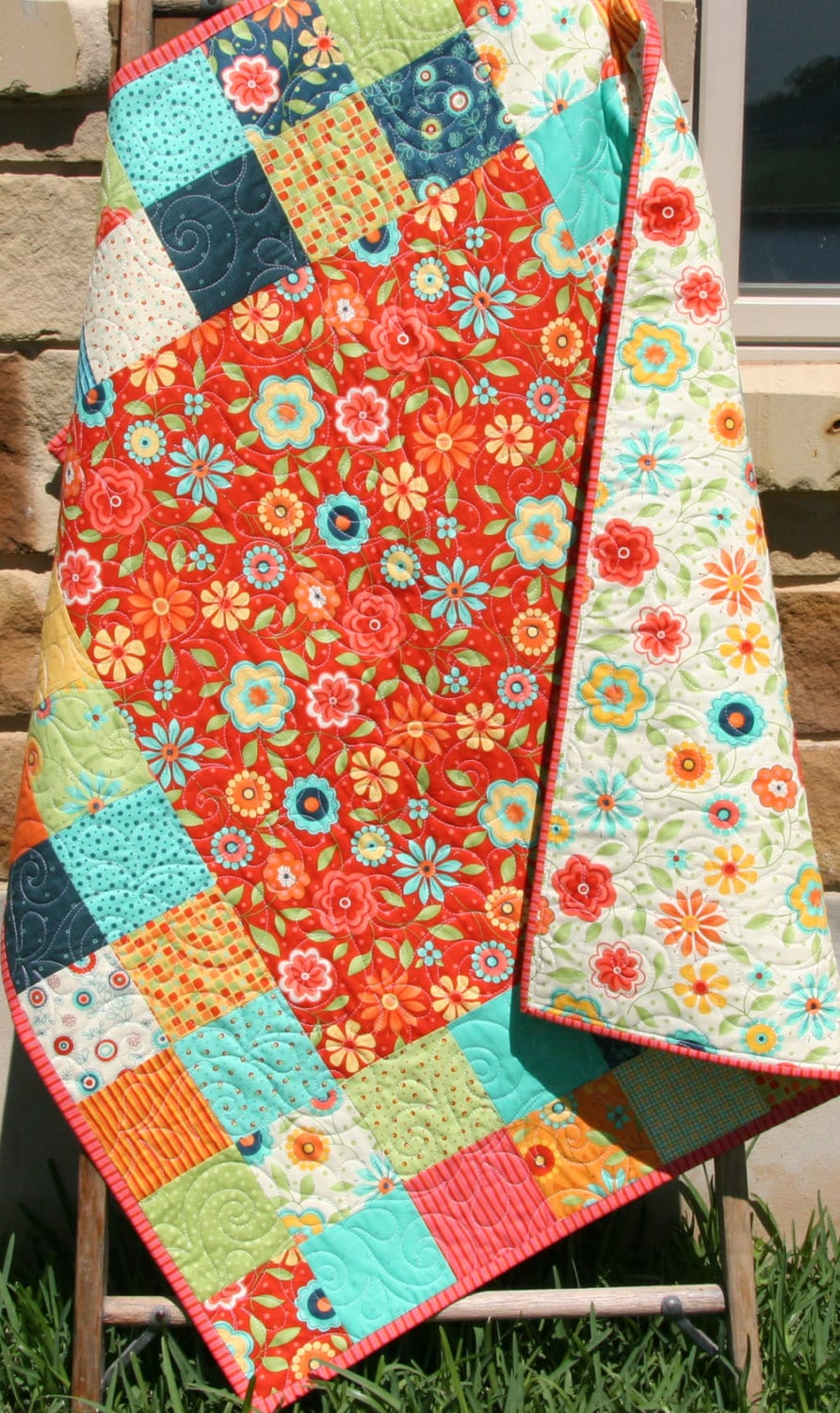 Baby Girl Quilt Patchwork Pink Blue Red Primary Colors Crib