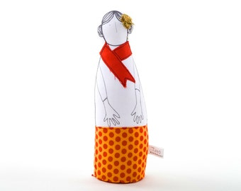 Family portrait Soft sculpture fabric woman doll, Wearing Orange polka-dot skirt & a red scarf -modern home decor, timo handmade fabric doll