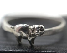 Silver Pig Ring, Piggy Bank Jewelry, Farm Animal Ring, Silver Animal Jewelry, Wildlife Ring, Happy Pig Ring