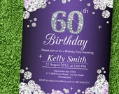 birthday invitation, Glam, Rhinestone diamond elegant invite 30th 40th 50th 60th 70th 80th 90th adult birthday design - card 593