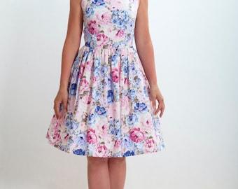 Custom made bridesmaid dress, floral dress, cotton dress, vintage inspired bridesmaid dress