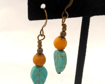 Turquoise Magnesite & Mustard Yellow Marble, Brass Bronze Antique Gold Dangle Earrings