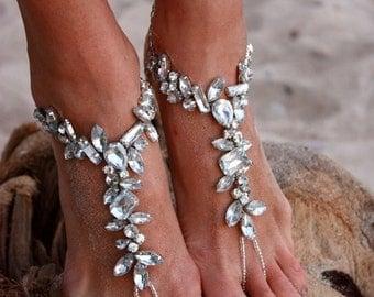 Beach Wedding Barefoot Sandal,Bridal Swarovski Crystal Barefoot Sandals,Boho Slave Anklet,Wedding Anklet,Bridesmaid Accessories,MABEL design