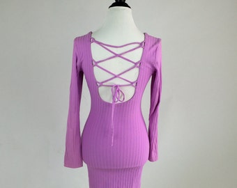 90's Pink Ribbed Cut Out Low Back Lace Up Long Sleeve Dress // S - M