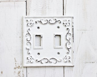 Double Light Switch Cover-Plate- Cast Iron-Fleur De Lis-Decorative-Shabby Chic Iron White-Electrical Outlet Plate-Painted Metal-Gift Ideas