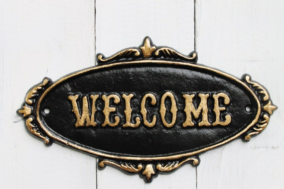 Jet Black WELCOME Sign Plaque-Rustic Cast Iron Old