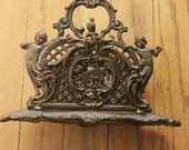 Vintage 30's Bronze Plated Brass Ornate Cherub Letter Holder, made in Germany