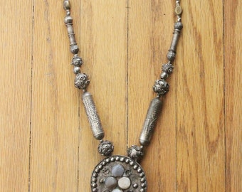 Vintage 70's Tribal Bohemian Silver, Brass, and Raw Quartz Medallion Necklace