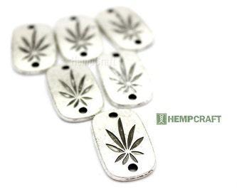 Cannabis Leaf Connectors, 6pc Marijuana Leaf Bracelet Links, 28x18mm