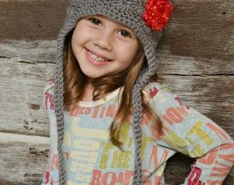 Girls Hat   Earflap hat   Crocheted Flower Hat   Grey Gray Hat with Shabby Flower   Baby Hat   Toddler Hat   Tween Hat   Girls Accessories