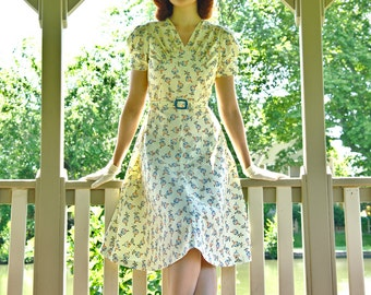 30s day dress in yellow cotton with flowers, made to order, sizes 0 to 16 / summer dress / lindy hop dress / swing dance dress