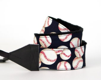 READY to SHIP SLR Camera Strap - Baseball
