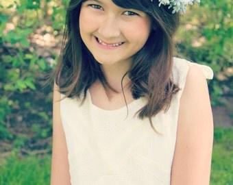 bridal headband ,Flower Crown,  Wedding,  Ivory or white, Tiara, Bridal Hair Wreath, head wreath, fairy, woodland -MADELAINE- by DeLoop