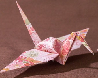 6 inches patterned cranes (32 pieces in pink)