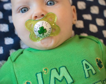 Kiss Me I'm Irish Hand Painted MAM Pacifier by PiquantDesigns