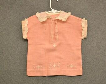 1950s Peach Linen Girl's Shirt