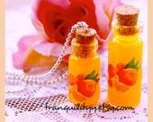 Orange Juice Bottle Necklace , Breakfast Drink  1ml & 2ml Bottle Necklace, Kawaii, Scene , By: Tranquilityy