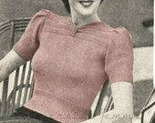 A Day in the Garden, 1940s womens jumper - vintage knitting pattern PDF (474)