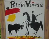 large repro of spanish wine label. original art