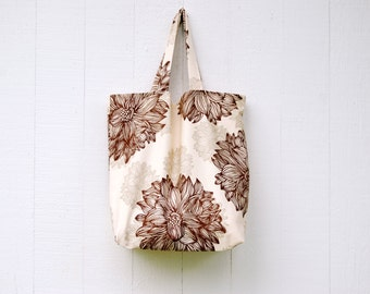 Market Tote Bag - Floral Organic Cotton Twill - Grocery - Cloth Bag -  Farmers Market - Eco Friendly - Ready to Ship