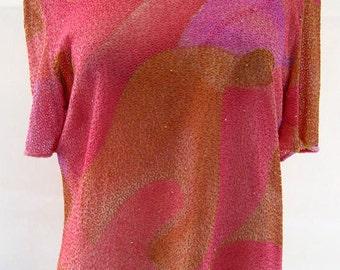 Vintage Frank Usher Bright Candy Coloured Sequin Top UK Size 14/16