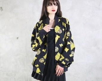 bomber jacket, scarf print, 80s opulent PILLAR Moon bomber jacket, women's med / large