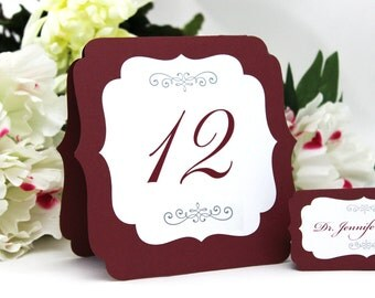 Large Table Number Tents - Double-sided layered number cards, elegant wedding shower event signs, self-standing tented or flat, many colors
