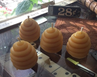 Four Small Pure Beeswax Votives