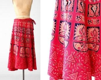 70s India cotton maxi skirt, vintage red block print wrap skirt