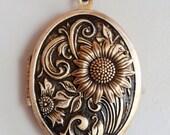 Locket, Jewelry Gift,Sunflower Brass Locket, locket necklace,photo locket,brass oval locket,brass locket,Wedding Necklace