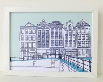 Amsterdam Print, Mint green print, artwork, Picture of Amsterdam, Holland, Drawing of Amsterdam, Picture of Canal Houses