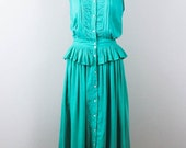 Indian Gauze Cotton Seafoam Green Peplum Vintage Dress Monsoon 1980's Sundress Medium M