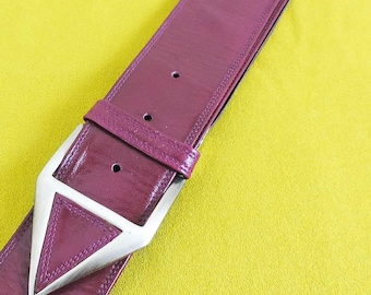 Charles Jourdan Leather Belt, 80's Vintage Wine Colored Belt, Italian Leather 28.5 - 33