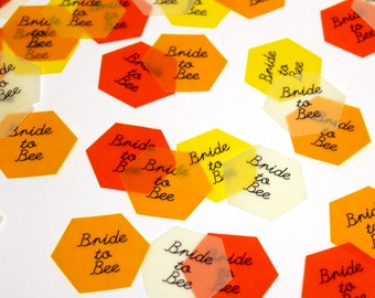 Bride to Bee Confetti Hexagons, translucent large vellum paper confetti, bumble bee bridal shower, honeycomb, bee theme, party decor
